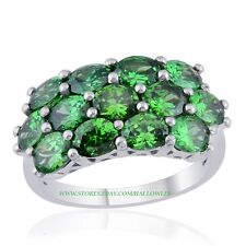 KARIS Collection Spring Green Cubic Zirconia Ring in Platinum / Brass 7.65 Cts.