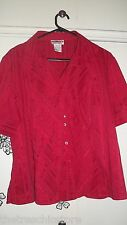 Millers Red Striped Short sleeved Top Size 16 vgc