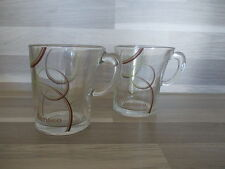 2 Senseo harlequin clear glass with swirl print coffee cups