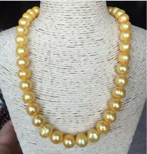 """20"""" Stunning AAA+ 12mm Real natural south sea golden baroque pearl necklace 14k"""
