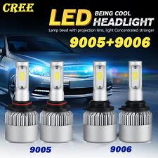 4PCS Combo CREE COB 9005 9006 LED 320W 32000LM Headlight Kit Beam 6500K White