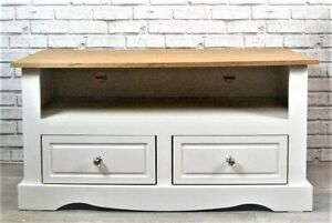 TV Stand Unit White Waxed Wood Top Shelf & 2 Drawers Wide Television Cabinet