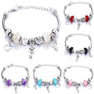 Crystal Charm Bracelets Silver Love Heart Key Bracelet Women Ladies Bead Gift