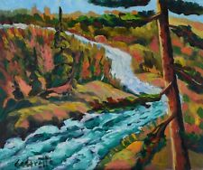 "Serge Cadorette 20x24"" Oil Painting Forest Waterfall Landscape Canadian Listed"