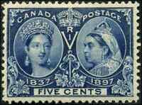 Canada #54 mint VF OG HR 1897 Queen Victoria 5c deep blue Diamond Jubilee