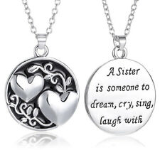Charm Sister Crystal Reversible Pendant Chain Necklace Love Family Jewelry Gifts