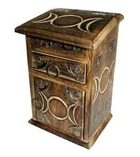 Beautiful Triple Moon Witches Cupboard Herb Chest Wooden Box Antique Style
