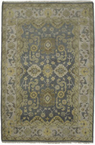 Muted Colors Floral Oushak Chobi 6X9 Hand-Knotted Oriental Rug Wool Decor Carpet