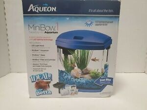 Aqueon 1 Gallon MiniBow LED Desktop Fish Aquarium Kit, Blue