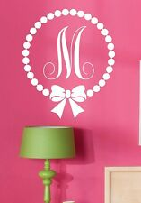 Wall Decal-Monogram Polka Dot with Bow-Personalized-Custom-Initial- Girls Room