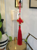 Vintage Mid Century Chinese Japanese Asian Woven Hanging Beaded Tassel