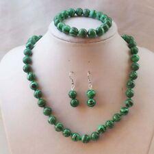 8mm green malachite round necklace 18''Bracelets7.5'' Earrings Set JN436