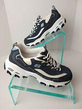 Skechers Women's Wide Fit Blue D-lites Comfort Memory Foam Sneakers Sz 9.5 #805