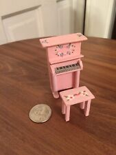 Vintage Miniature Dollhouse 1:24 Handmade Pink Piano & Bench Signed