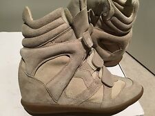 As New Isabel Marant Bekett High Top Sneakers Chalk Wedge Heel Size 37 EU