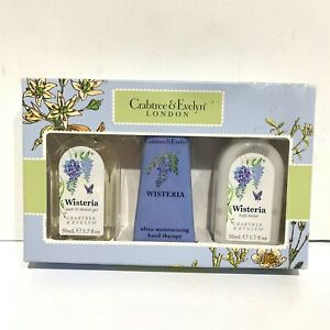 Crabtree & Evelyn Wisteria Travel Gift Set Shower Gel Body Lotion Hand Therapy