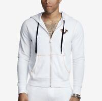 True Religion Men's Big T Horseshoe Zip Up Hoodie in White