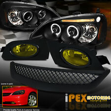 New 2001-2003 Honda Civic LED Halo Projector Black Head Light + Fog Lamp + Grill