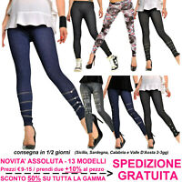 Jeggings Moda Donna Leggings Skinny Slim Fit Leggins Effetto Jeans Denim Fashion
