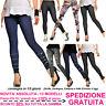 Jeggings Moda Donna Leggings Skinny Slim Fit Leggins Effetto Jeans Denim Fashion