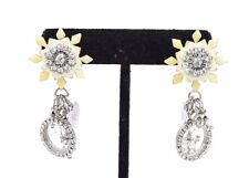 STUNNING Vtg HIGH END Costume LUNCH AT THE RITZ Rhinestone Charm Earrings