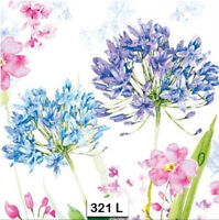 (321) TWO Individual Paper Luncheon Decoupage Napkins - AGAPANTHUS
