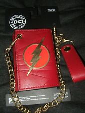New Adult Red The Flash DC Comics Fastest Man Alive Trifold Wallet & Chain