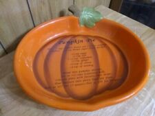 "Pumpkin Baking Dish Pie Plate With Recipe 11 1/2"" x 10"""