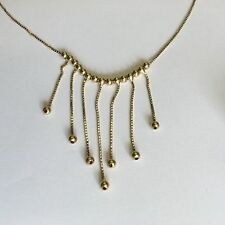 Beautiful Vintage Solid 18ct Gold Ball & Box Chain Fringe Necklace Length 41cm