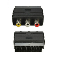 New SCART Male Plug to 3 RCA Female A/V Audio Video Adaptor Converter for TV DVD