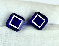 Natural Blue Tanzanite 11-13 Ct Octagon Cut Gemstone Matching Pair Certified