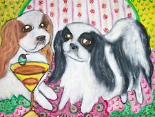 Japanese Chin Drinking a Martini Dog Pop Folk Vintage Art 8 x 10 Signed Print