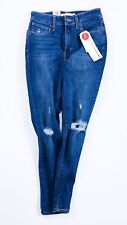 Levi's 721 Ankle Jeans High Rise Skinny Ripped Blue Lightening 55451-0001