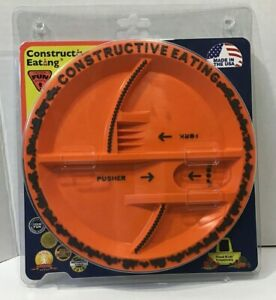 Construction Kid's Orange Constructive Eating Plate For Toddlers New in Package