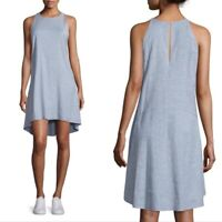Theory Blue Linen Blend Adlendale Sleeveless Shift Midi Dress SZ 4 S