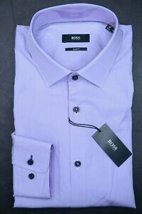 Hugo Boss Men's Juri Slim Fit Bright Purple Plaids Cotton Dress Shirt 39 15.5