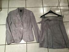 ESPRIT Tailleur jupe veste gris brillant très élégant Dames T 38 excellent état