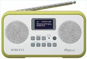Roberts Play Duo DAB DAB+ FM Portable Digital Radio Lime Green VGC UK SELLER