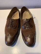 Vintage Salvatore Ferragamo Brown Leather/Suede Wing Tip Lace Oxford Shoes 8.5 C
