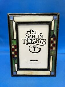 """Paul Sahlin Tiffany's American Stained Glass Photo Picture Frame 4"""" x 6"""" Boxed"""