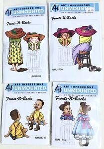 Lot Of 4 Ai Art Impressions Unmounted Front-N-Backs  Original Rubber Stamps NOS