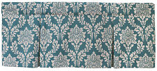 Teal and Cream Margaux Damask Lined Box Pleat Valance, 45 Inch x 15 Inch, Cotton