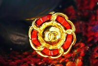 1 Stamped Chanel button One cc logo 19 mm 0,8 inch  metal gold red