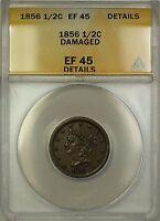 1856 Braided Hair Half Cent 1/2c Coin ANACS EF-45 Details Damaged