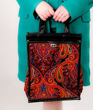 60s vintage multi coloured paisley print tote leather trim vtg shopper