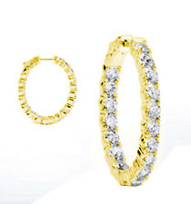 Hoop Oval shape Earring 44 x .05 ct 2.20 carat Round cut Diamond 14k Yellow Gold