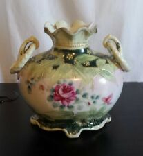 Antique JAPAN NIPPON porcelain vase Hand Painted Pink with Roses beaded Handled