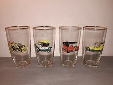 4 VINTAGE DRINKING GLASSES WITH CARS AUTOMOTIVE FORD AUSTIN ROLLS-ROYCE