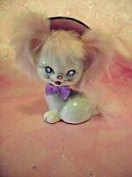 *RARE VTG* Japan Pink Fur Rhinestone Blue Eyes Lavender Bow Little Kitten Cat