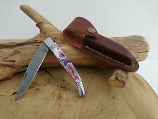 Couteau de poche Laguiole Damas + étui Fabrication Artisanale réf 654
